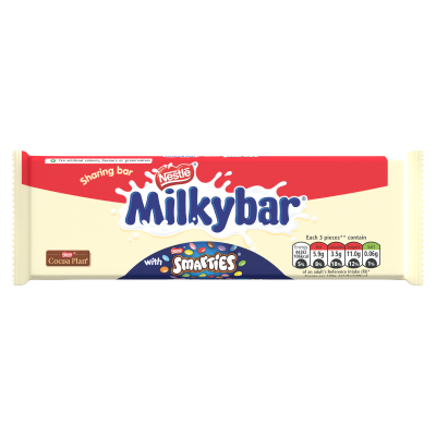 Milkybar Smarties White & Milk Chocolate Sharing Bar 100g