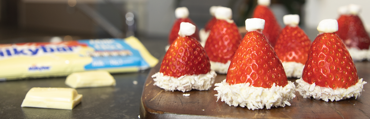 Mini Milkybar & Strawberry Christmas Hats