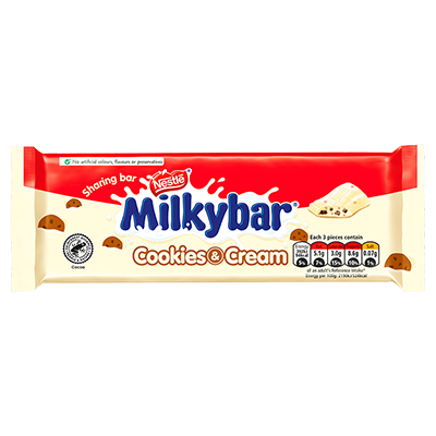 Milkybar® Cookies & Cream White Chocolate Sharing Block 90g
