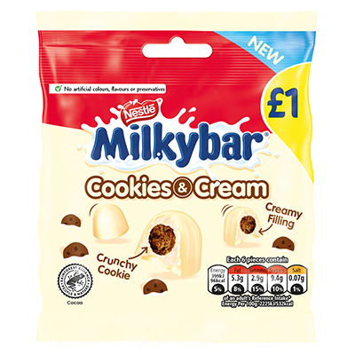 Milkybar® Cookies & Cream White Chocolate Bites Sharing Pouch 73g